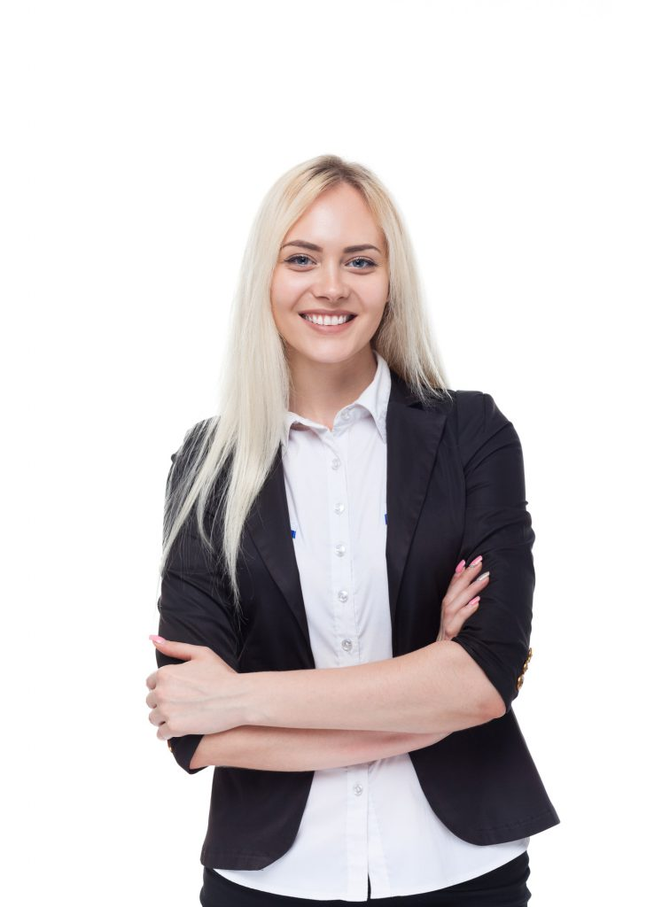 Young blonde businesswoman smile, folded hands, attractive business woman, student girl